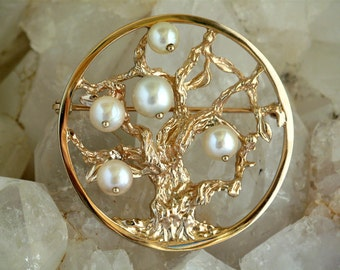 vintage 14K gold and cultured pearls tree of life brooch