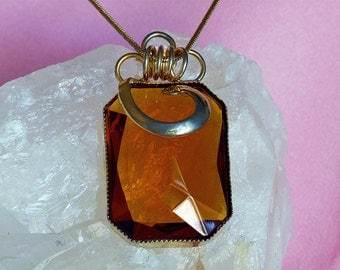 vintage faceted amber glass 12K plated  bezel set pendant
