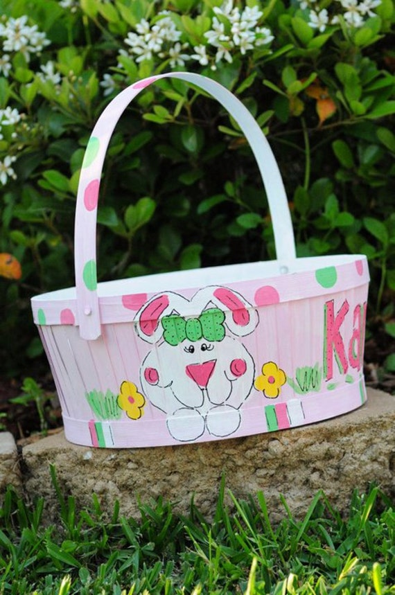 Hand Painted Easter Basket by monogrammadness12 on Etsy