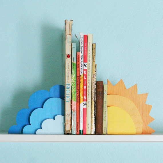 Childrens 39 bookends wooden and painted sweet air - Sturdy bookends ...