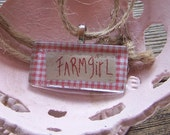 Farm Girl Glass Tile Rope Country Necklace