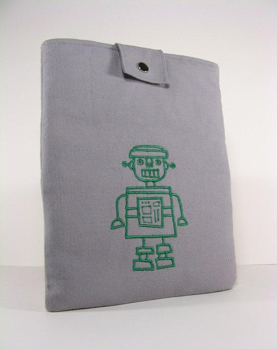 iPad Sleeve. iPad case. Gray Canvas. Green Embroidered Robot