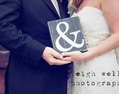 Wood Block with Heart and & - Fun Engagement and Wedding Prop