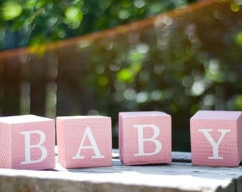 Cute and Sweet Pink Baby Blocks - Perfect for your little girl's nursery