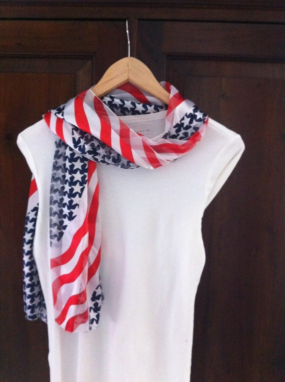 patriotic scarf / july 4th scarf / flag scarf / unisex adult scarf READY TO SHIP