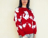 "Cat and Mouse vintage pullover/sweater, small medium - red and white . . . . . . . ""Like"" our fb page for 10% discount"