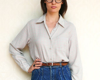 """Vintage checkered shirt, medium large - grey, pink and olive. . . . . . """"Like"""" our fb page for 10% discount"""