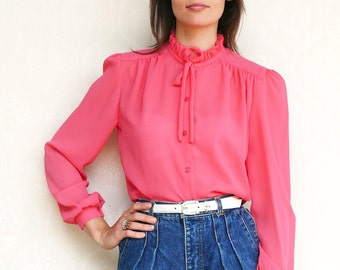 """Vintage tie bow shirt, small medium - sheer candy pink . . . . . . . """"Like"""" our fb page for 10% discount"""