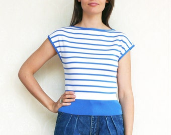 """Vintage nautical stripe top, small  - blue and white. . . . . . . . . . . . """"Like"""" our fb page for 10% discount"""