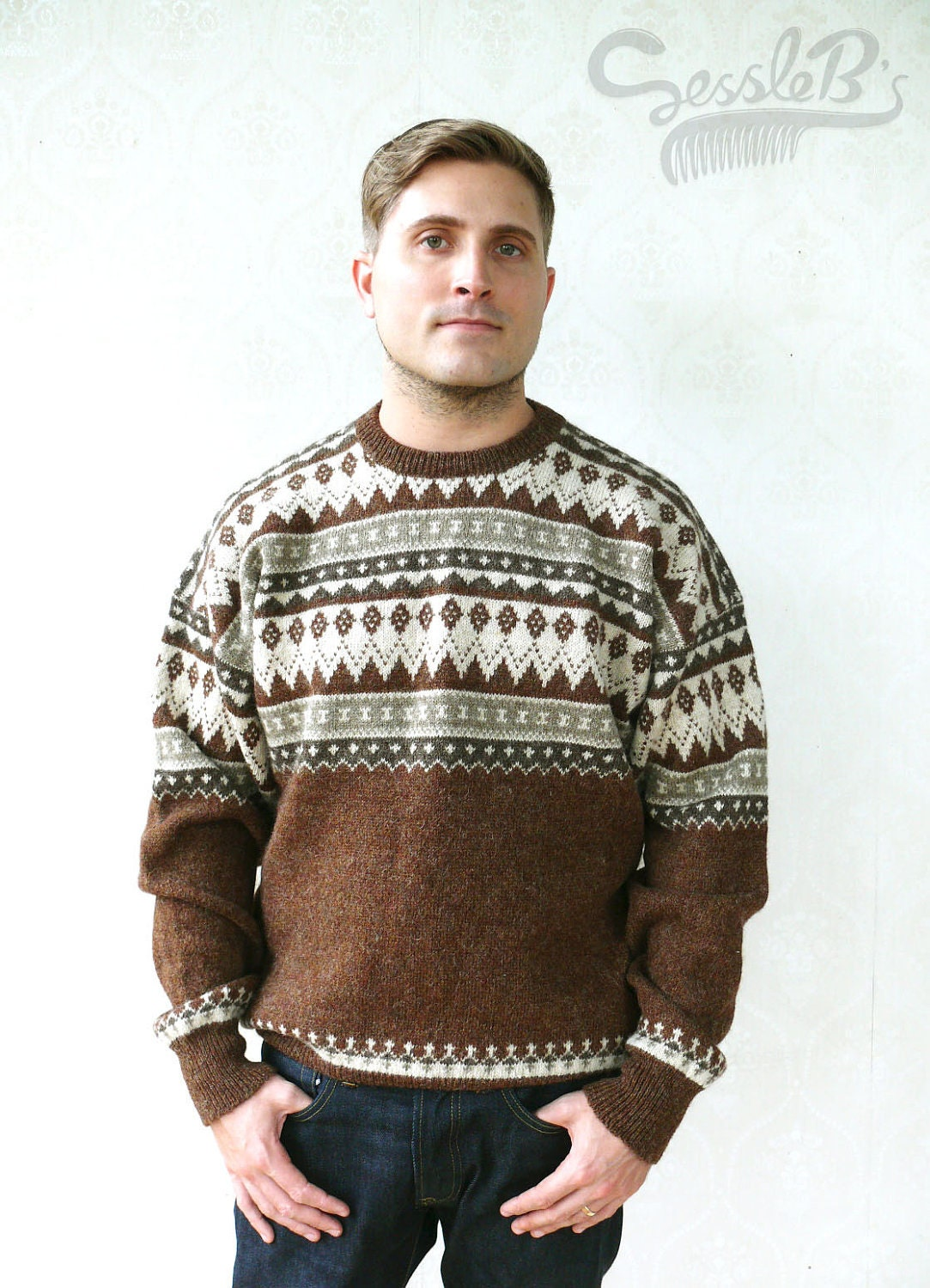 Classic men's vintage sweaters, pullovers, cardigans, and jumpers go in and out of style every winter. Over the decades' sweaters styles have also experienced shifts in popularity with changes in fit, pattern, and colors matching the fashion of the day.