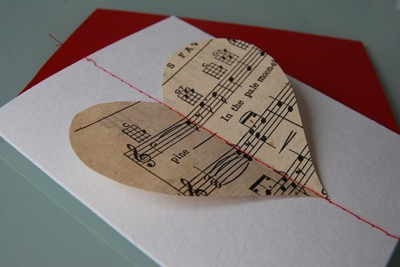 Items similar to Musical Heart card made with vintage sheet music – Musical Valentines Day Cards