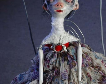 OOAK ** Halloween Art Doll** Small Fantasy doll with blood red belt.