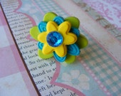 On Sale 20% Off Turquoise Flower Button Girls Ring