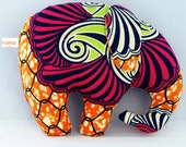 Plush ELEPHANT toy,  ORANGE BATIK fabric