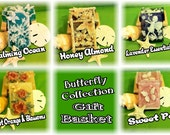 5 Bars BUTTERFLY SOAP COLLECTION in a Basket....5 Bars of Glycerin Handcrafted Soaps. Each bar different design & fragrance