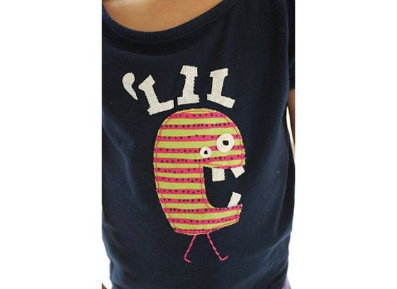 Lil monster Party monster applique  t-shirt