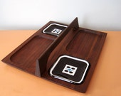 RESERVED FOR ELIABMid Century / Danish Modern Walnut Serving Tray/Desk Organizer with a Handle and Black Glass Inserts