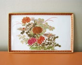Vintage Asian Motif Ceramic Tray, Floral Design