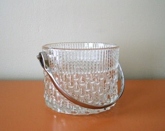 Mid Century Glass Ice Bucket with Chrome Handle, Made in France