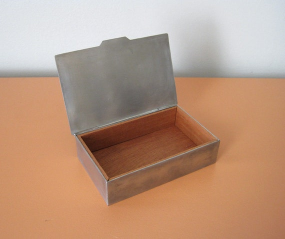 Vintage Pewter Cigarette Box with Cedar Inserts