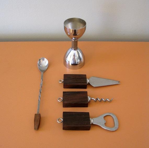Vintage Mid Century Modern Walnut and Stainless Steel Bar Tool Set