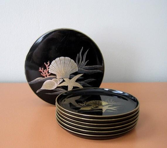Vintage Otagiri Black Lacquer Nautical Coasters in Decorative Box, Set of 6