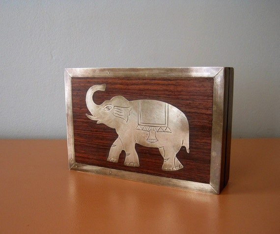 Vintage Wood and Brass Box, Elephant Inlay
