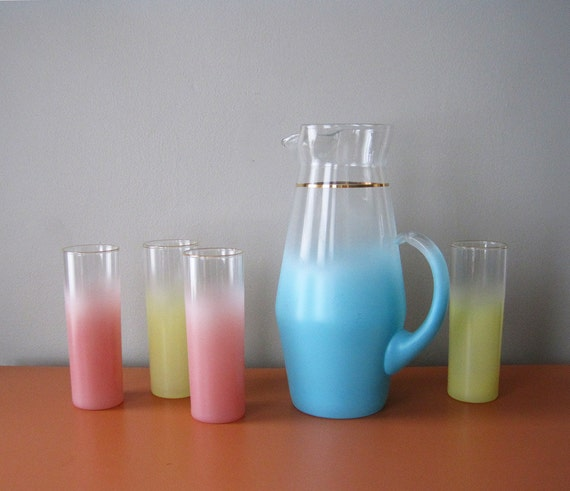 RESERVED // Retro Blendo Pitcher and Glasses Set, Multi Color Pastel