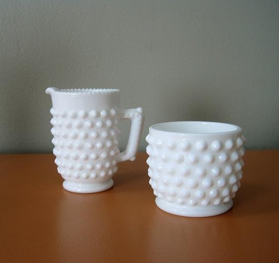 Vintage Fenton Hobnail Milk Glass Creamer and Sugar Bowl
