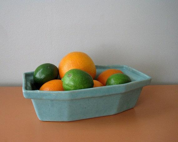 Vintage Aqua Blue Pottery Bowl, Turquoise Planter
