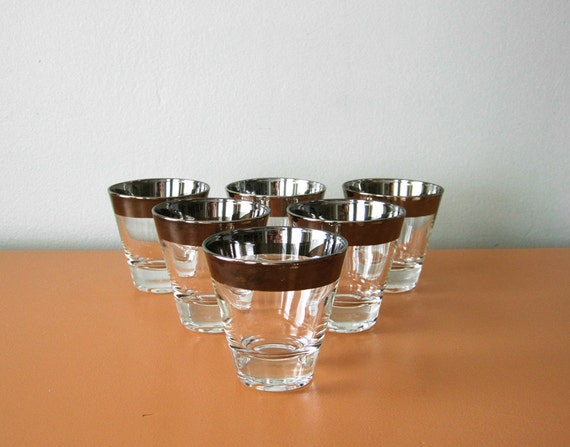 Mad Men Style Silver Rimmed Glasses, Set of Six