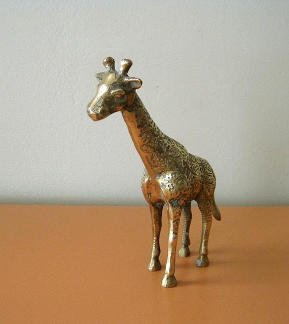 Vintage Brass Giraffe Statue, Hollywood Regency
