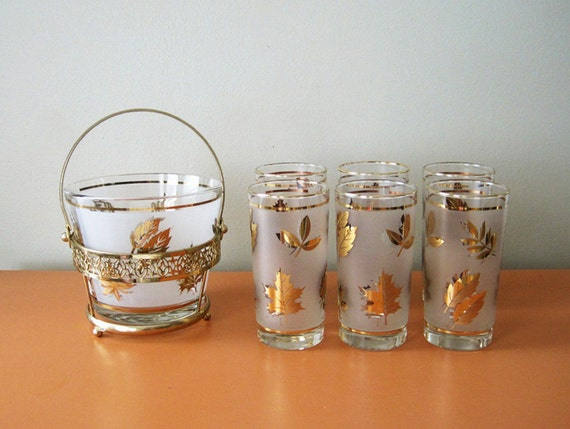 Mad Men Style Gold Leaf Glasses and Ice Bucket, High Ball Glasses, Set of Six