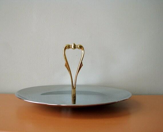 Vintage Kromex Serving Tray, Gold Handle