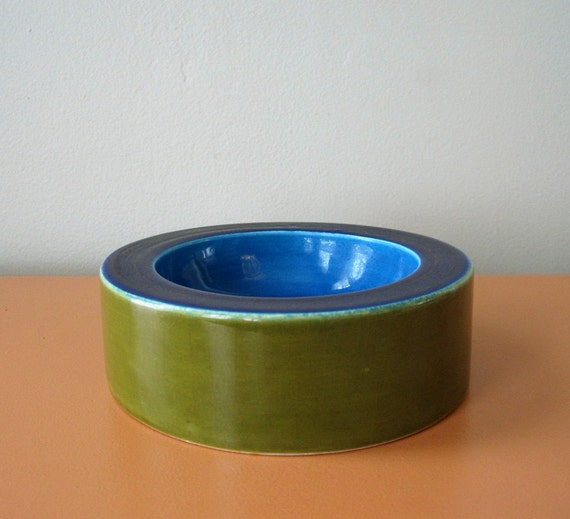 Vintage Mod Italian Color Block Bowl, Blue and Green