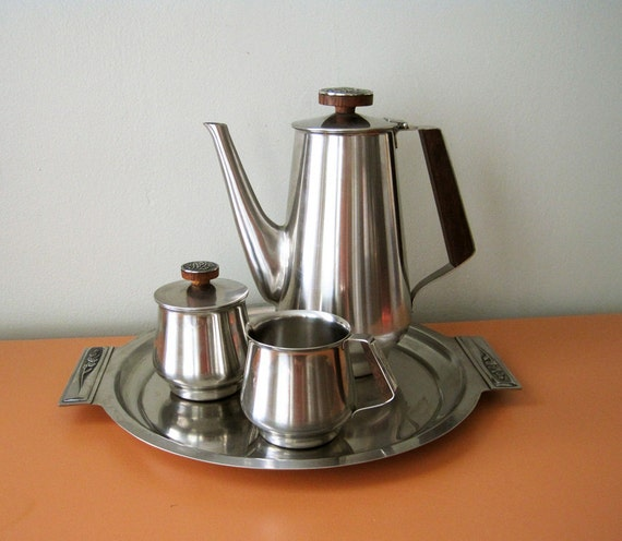 Vintage Rogers Insilco Stainless Steel Coffee Set with Floral Detailing and Wood Accents/Bar Tray