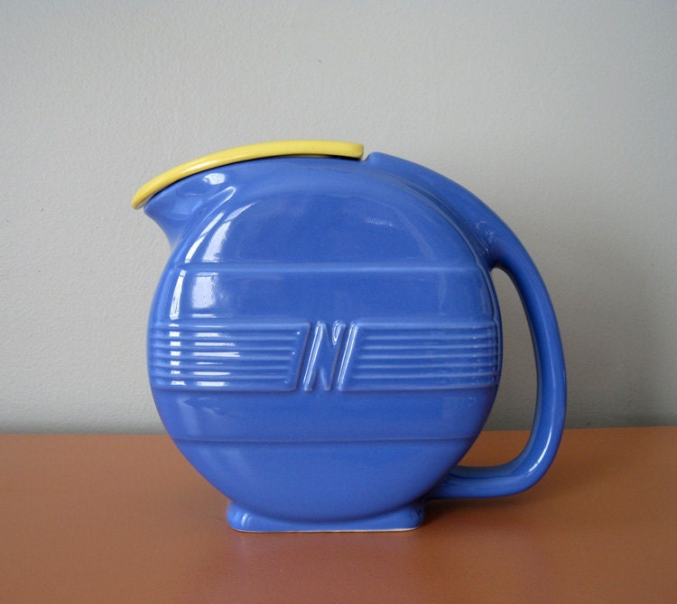 Vintage Blue Art Deco Ceramic Pitcher With Lid Refrigerator