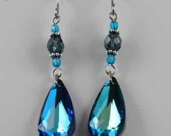 Brilliant, Bermuda Blue, Swarovski Crystal Earrings