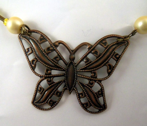 Bronze Butterfly Necklace and Earring Set with Brown and Ivory Beads