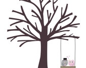 Owls Thumbprint Tree Guestbook: 24x30 (best for approximately 100-175 signatures) - other sizes also available. CUSTOMIZABLE  DIY