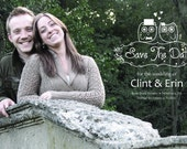 Owl Save The Date Photo DIY, CUSTOMIZABLE (also available: wedding invitations and thumbprint guestbook to match)