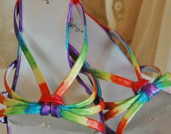 Hand Dyed Size 8 Strappy Rainbow 3 inch Heels Colorful Holiday Party Wedding One of a Kind OOAK Upcycled Eco Friendly Fashion