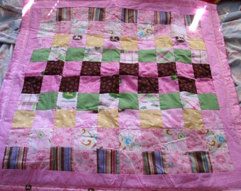 John Deere pink baby quilt