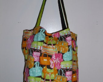 Handmade tote bag, purse themed,  Spring Cleaning sale was 15.00 Now 10.00