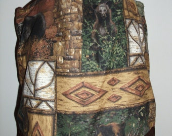 Handmade tote bag, diaper bag, tribal, native american, bears, up north,   Spring Cleaning sale was 15.00 Now 10.00