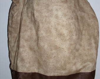 Handmade tote bag, diaper bag, tonal tan, gold print,   Spring Cleaning sale was 15.00 Now 10.00