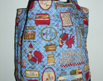 Handmade tote bag, diaper bag, picnic, family reunion, summer  print,   Spring Cleaning sale was 15.00 Now 10.00