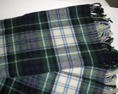 Vintage Plaid 100%  wool made in England Baby Blanket with fringe, Carson Pirie Scott Baby Shop