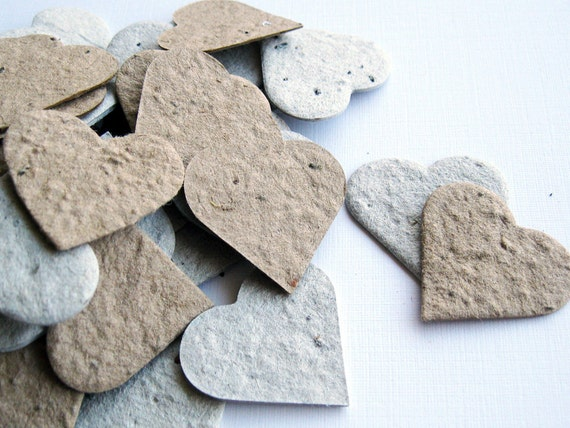 "600 - 1"" Plantable Seed Paper Heart Confetti - Recycled Grocery Bag and Newspaper - Eco Friendly,  Wedding Favors, Bridal Showers, Crafts"