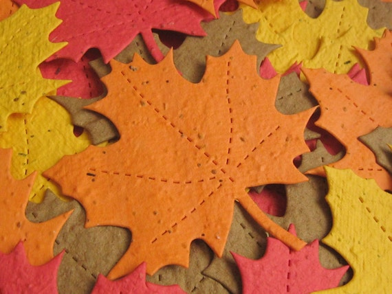 Plantable Seed Paper Leaves - 50 Count - Autumn Blend - Eco Friendly & Great Wedding and Shower Favors
